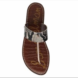 Sam Edelman GUS Leather Thong Sandals Snake Print